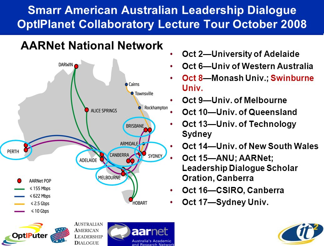 Smarr American Australian Leadership Dialogue OptIPlanet Collaboratory Lecture Tour October 2008 Oct 2University of Adelaide Oct 6Univ of Western Australia Oct 8Monash Univ.; Swinburne Univ.