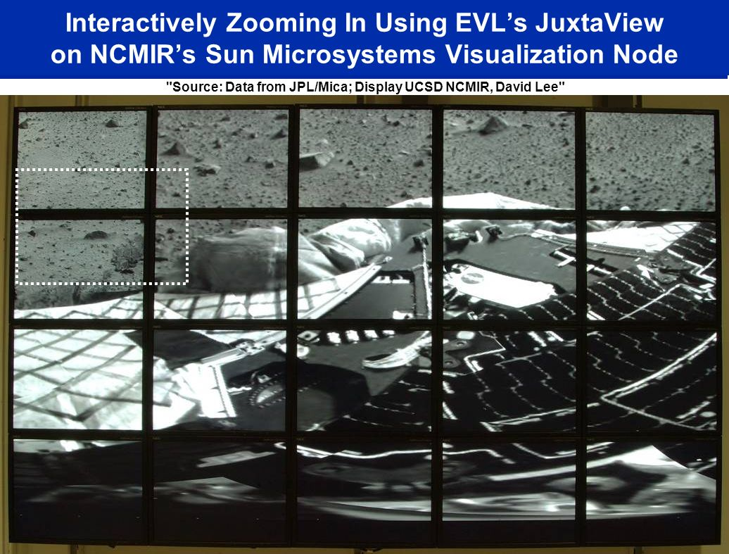 Interactively Zooming In Using EVLs JuxtaView on NCMIRs Sun Microsystems Visualization Node Source: Data from JPL/Mica; Display UCSD NCMIR, David Lee