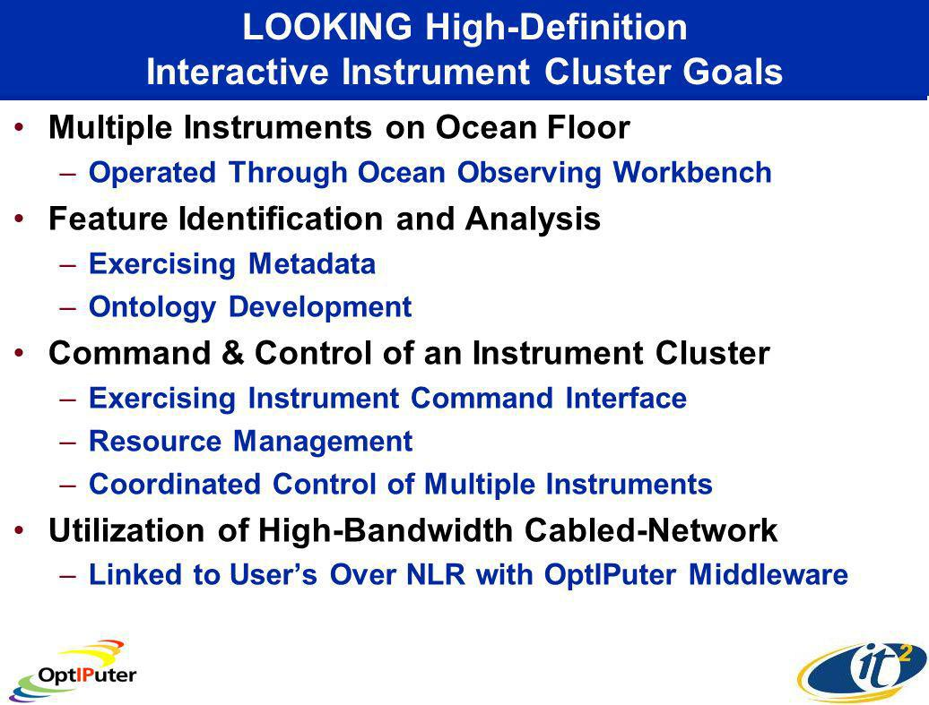 LOOKING High-Definition Interactive Instrument Cluster Goals Multiple Instruments on Ocean Floor –Operated Through Ocean Observing Workbench Feature Identification and Analysis –Exercising Metadata –Ontology Development Command & Control of an Instrument Cluster –Exercising Instrument Command Interface –Resource Management –Coordinated Control of Multiple Instruments Utilization of High-Bandwidth Cabled-Network –Linked to Users Over NLR with OptIPuter Middleware