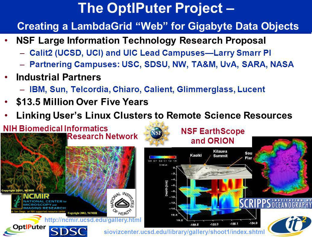 The OptIPuter Project – Creating a LambdaGrid Web for Gigabyte Data Objects NSF Large Information Technology Research Proposal –Calit2 (UCSD, UCI) and UIC Lead CampusesLarry Smarr PI –Partnering Campuses: USC, SDSU, NW, TA&M, UvA, SARA, NASA Industrial Partners –IBM, Sun, Telcordia, Chiaro, Calient, Glimmerglass, Lucent $13.5 Million Over Five Years Linking Users Linux Clusters to Remote Science Resources NIH Biomedical Informatics NSF EarthScope and ORION http://ncmir.ucsd.edu/gallery.html siovizcenter.ucsd.edu/library/gallery/shoot1/index.shtml Research Network