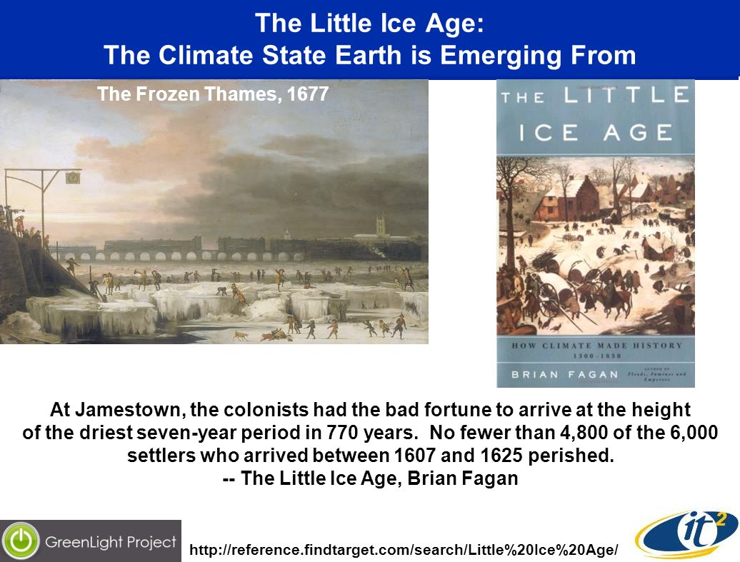 The Little Ice Age: The Climate State Earth is Emerging From The Frozen Thames, 1677 At Jamestown, the colonists had the bad fortune to arrive at the height of the driest seven-year period in 770 years.