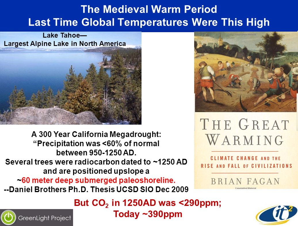 The Medieval Warm Period Last Time Global Temperatures Were This High A 300 Year California Megadrought: Precipitation was <60% of normal between AD.