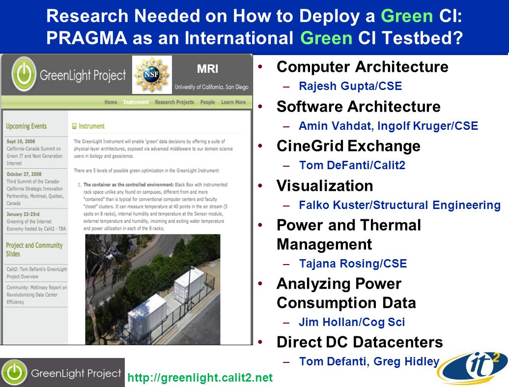 Research Needed on How to Deploy a Green CI: PRAGMA as an International Green CI Testbed? Computer Architecture –Rajesh Gupta/CSE Software Architectur