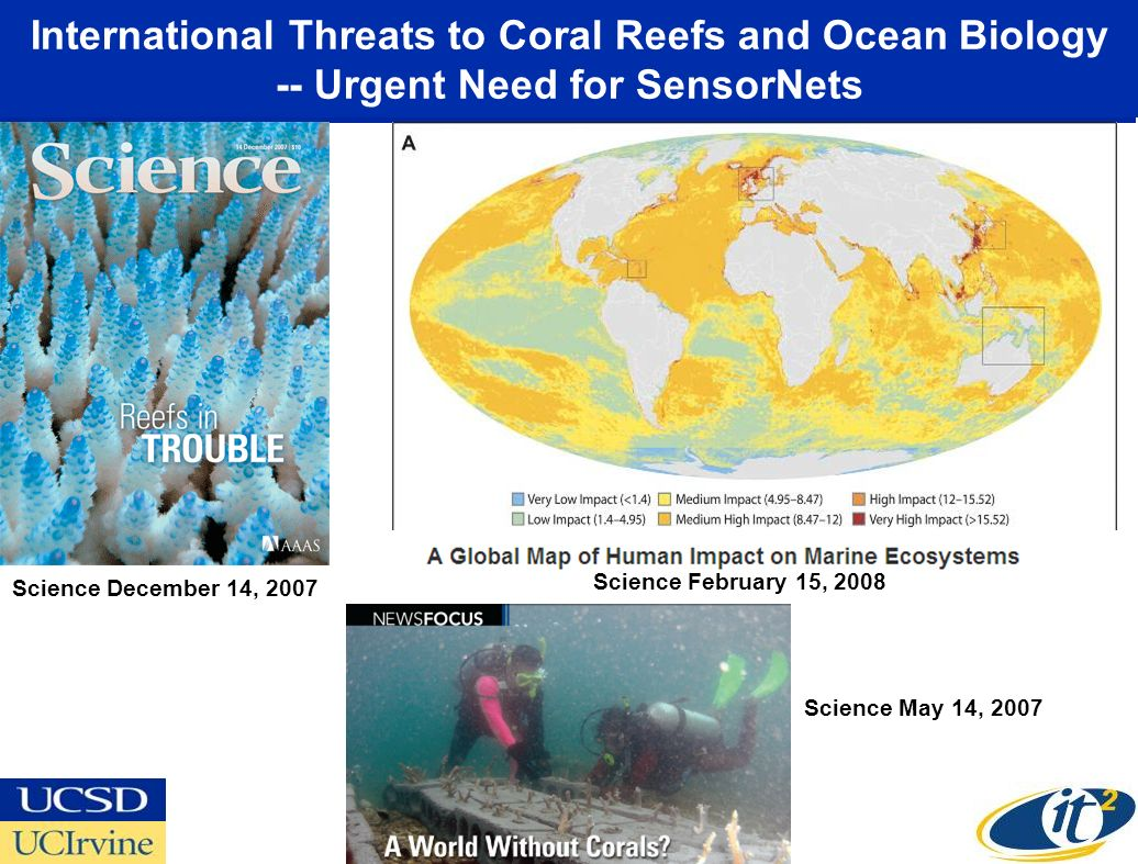International Threats to Coral Reefs and Ocean Biology -- Urgent Need for SensorNets Science December 14, 2007 Science February 15, 2008 Science May 14, 2007
