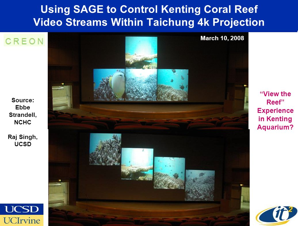 Using SAGE to Control Kenting Coral Reef Video Streams Within Taichung 4k Projection Source: Ebbe Strandell, NCHC Raj Singh, UCSD March 10, 2008 View the Reef Experience in Kenting Aquarium