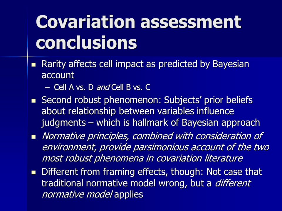 Rarity affects cell impact as predicted by Bayesian account Rarity affects cell impact as predicted by Bayesian account –Cell A vs.