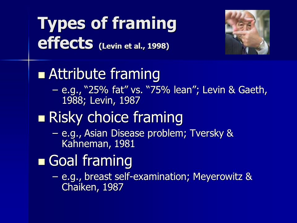 Types of framing effects (Levin et al., 1998) Attribute framing Attribute framing –e.g., 25% fat vs.