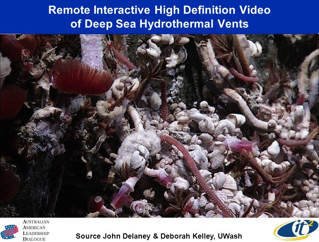 Remote Interactive High Definition Video of Deep Sea Hydrothermal Vents Source John Delaney & Deborah Kelley, UWash Canadian-U.S. Collaboration