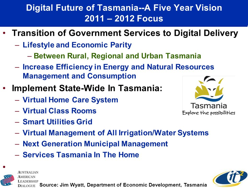 Digital Future of Tasmania--A Five Year Vision 2011 – 2012 Focus Transition of Government Services to Digital Delivery –Lifestyle and Economic Parity