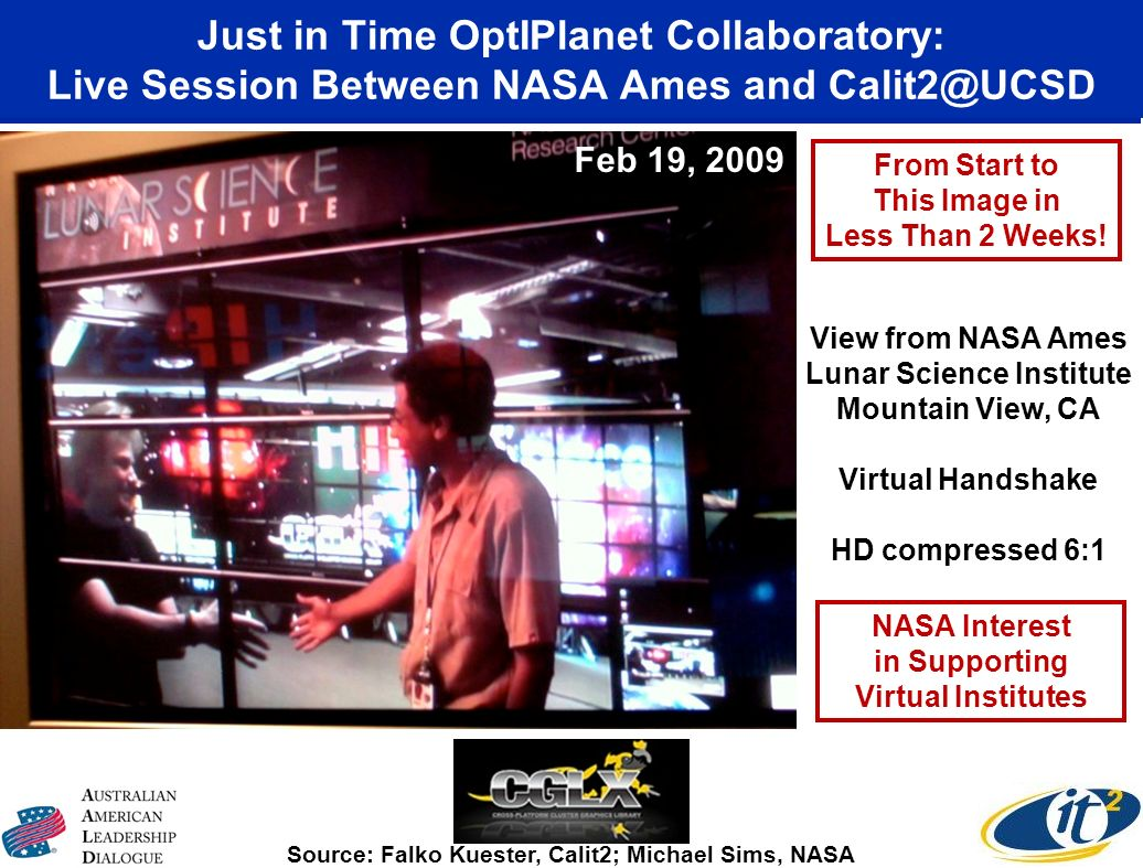Just in Time OptIPlanet Collaboratory: Live Session Between NASA Ames and Calit2@UCSD Source: Falko Kuester, Calit2; Michael Sims, NASA View from NASA