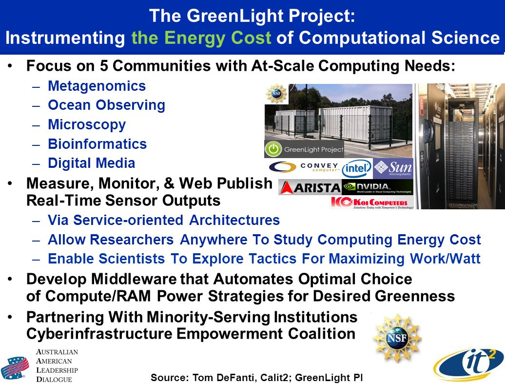 The GreenLight Project: Instrumenting the Energy Cost of Computational Science Focus on 5 Communities with At-Scale Computing Needs: –Metagenomics –Oc