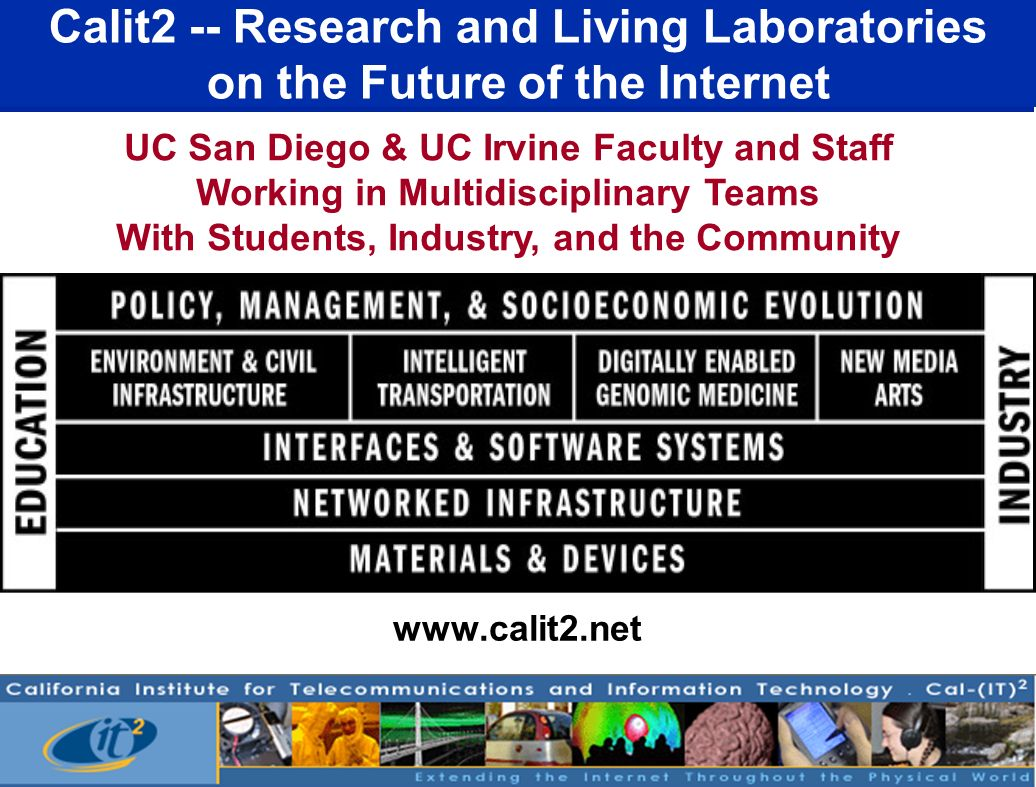 Calit2 -- Research and Living Laboratories on the Future of the Internet www.calit2.net UC San Diego & UC Irvine Faculty and Staff Working in Multidis