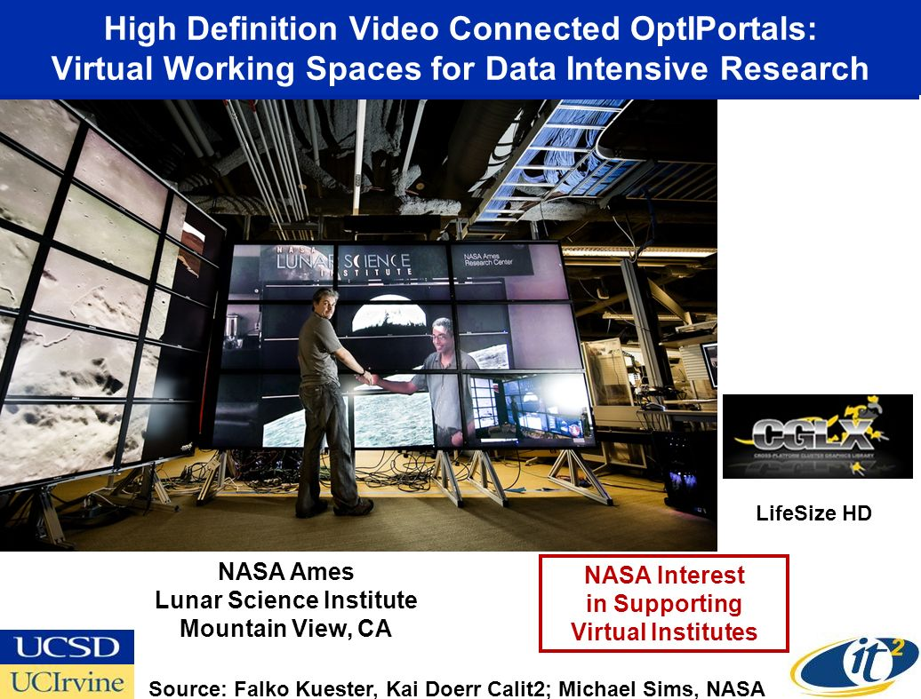 High Definition Video Connected OptIPortals: Virtual Working Spaces for Data Intensive Research Source: Falko Kuester, Kai Doerr Calit2; Michael Sims, NASA NASA Ames Lunar Science Institute Mountain View, CA NASA Interest in Supporting Virtual Institutes LifeSize HD
