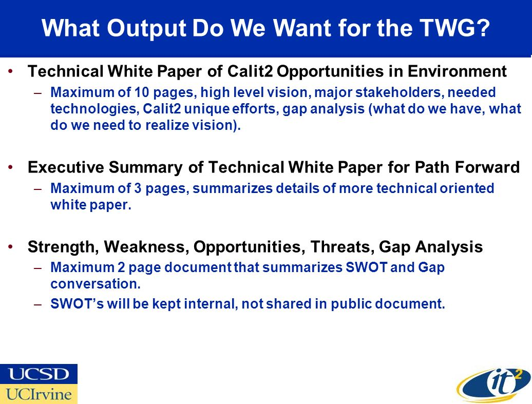 What Output Do We Want for the TWG.