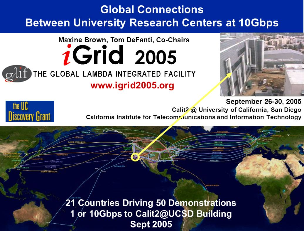 September 26-30, 2005 Calit2 @ University of California, San Diego California Institute for Telecommunications and Information Technology Global Conne