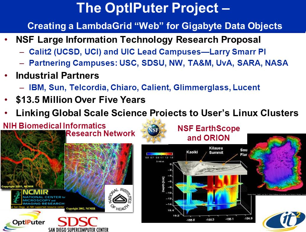 The OptIPuter Project – Creating a LambdaGrid Web for Gigabyte Data Objects NSF Large Information Technology Research Proposal –Calit2 (UCSD, UCI) and