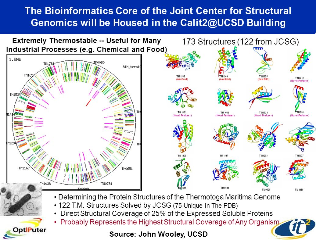 The Bioinformatics Core of the Joint Center for Structural Genomics will be Housed in the Calit2@UCSD Building Extremely Thermostable -- Useful for Ma