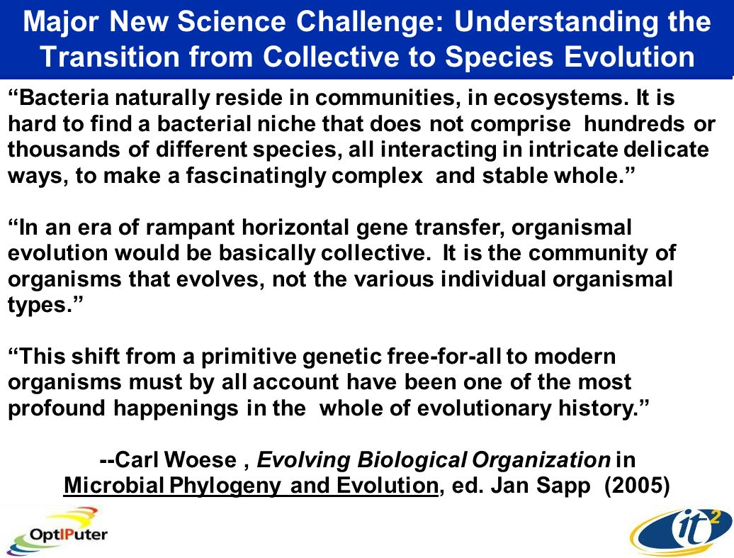 Major New Science Challenge: Understanding the Transition from Collective to Species Evolution Bacteria naturally reside in communities, in ecosystems