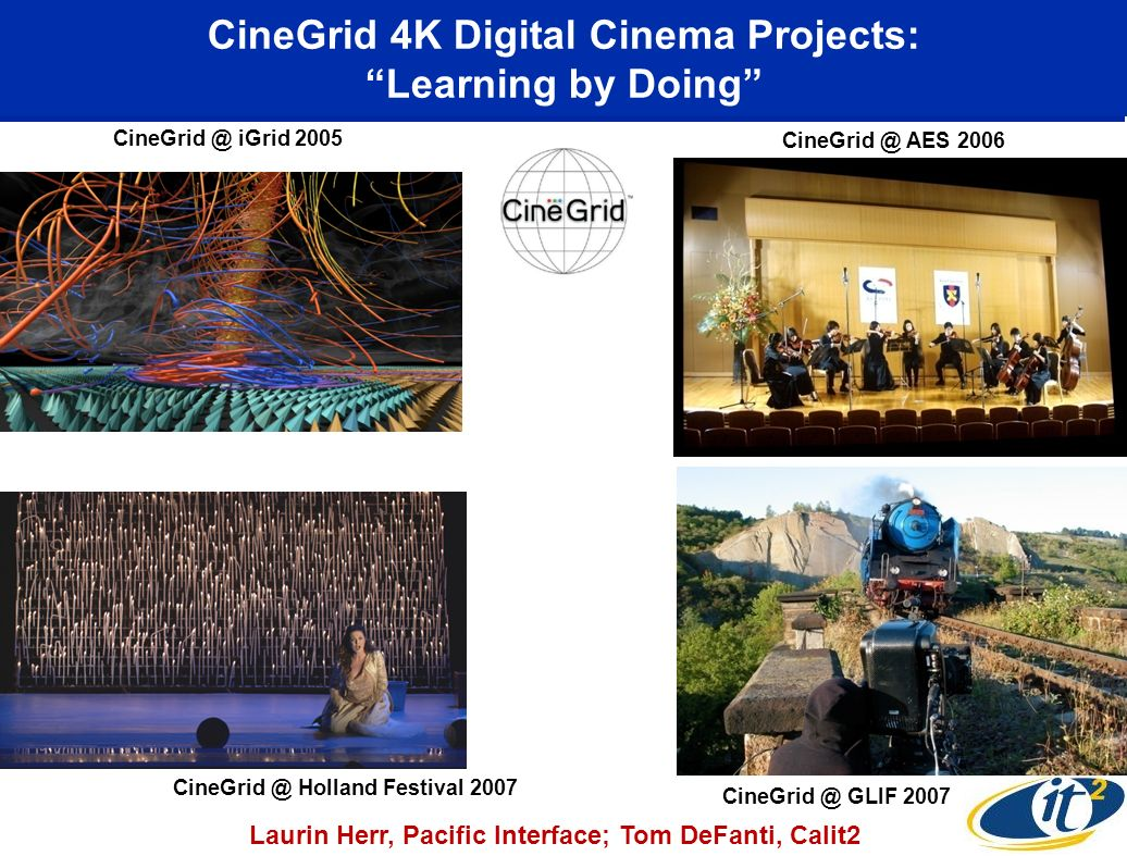 CineGrid 4K Digital Cinema Projects: Learning by Doing CineGrid @ iGrid 2005 CineGrid @ AES 2006 CineGrid @ GLIF 2007 Laurin Herr, Pacific Interface; Tom DeFanti, Calit2 CineGrid @ Holland Festival 2007