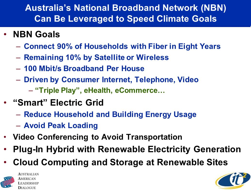 Australias National Broadband Network (NBN) Can Be Leveraged to Speed Climate Goals NBN Goals –Connect 90% of Households with Fiber in Eight Years –Remaining 10% by Satellite or Wireless –100 Mbit/s Broadband Per House –Driven by Consumer Internet, Telephone, Video –Triple Play, eHealth, eCommerce… Smart Electric Grid –Reduce Household and Building Energy Usage –Avoid Peak Loading Video Conferencing to Avoid Transportation Plug-In Hybrid with Renewable Electricity Generation Cloud Computing and Storage at Renewable Sites