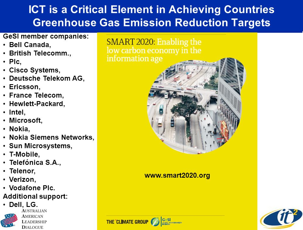 ICT is a Critical Element in Achieving Countries Greenhouse Gas Emission Reduction Targets www.smart2020.org GeSI member companies: Bell Canada, Briti