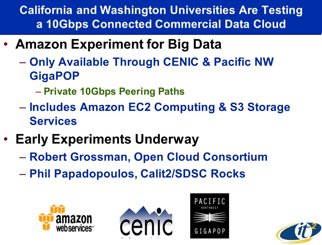 California and Washington Universities Are Testing a 10Gbps Connected Commercial Data Cloud Amazon Experiment for Big Data –Only Available Through CEN