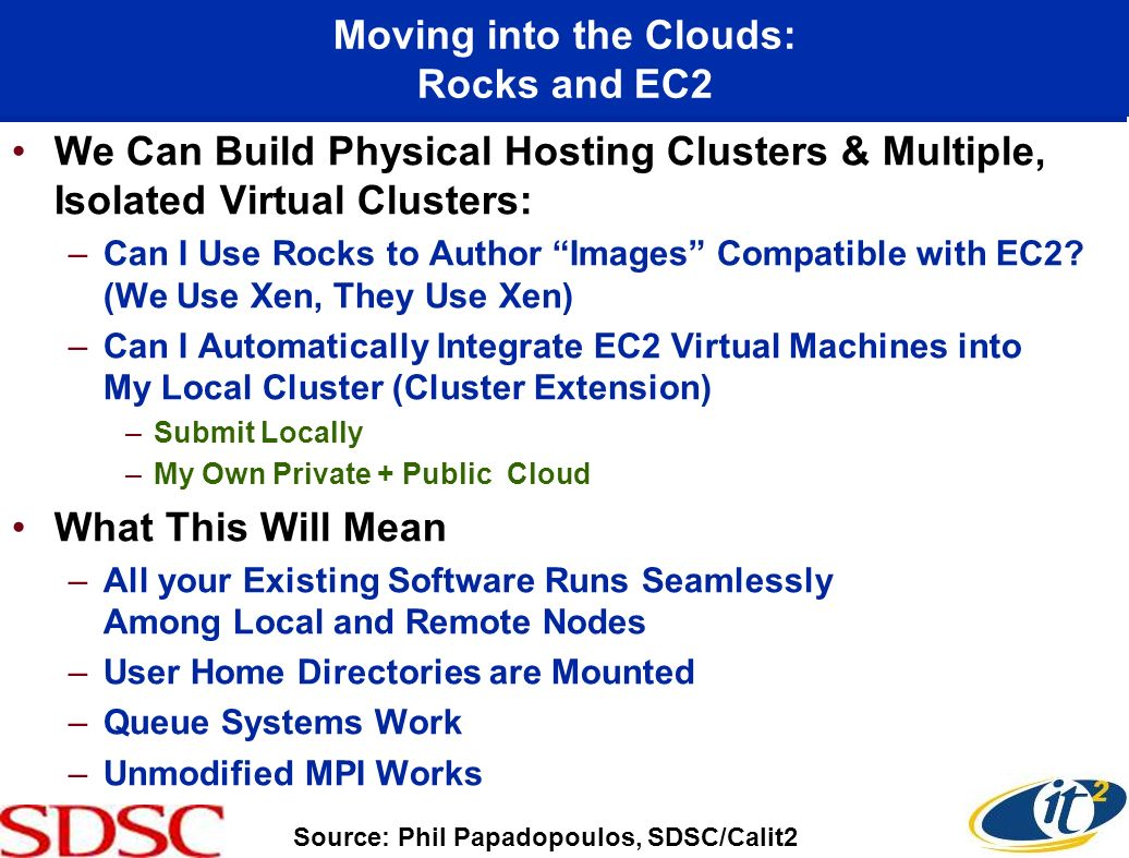 Moving into the Clouds: Rocks and EC2 We Can Build Physical Hosting Clusters & Multiple, Isolated Virtual Clusters: –Can I Use Rocks to Author Images