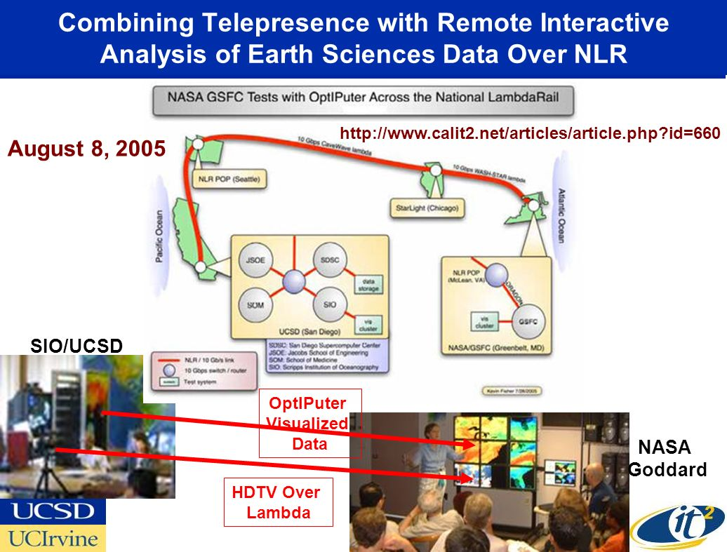 Combining Telepresence with Remote Interactive Analysis of Earth Sciences Data Over NLR HDTV Over Lambda OptIPuter Visualized Data SIO/UCSD NASA Goddard http://www.calit2.net/articles/article.php id=660 August 8, 2005