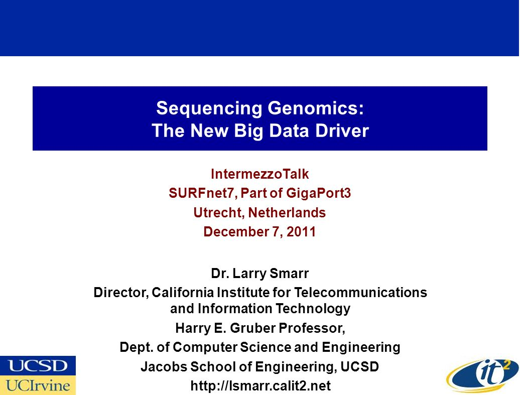 Sequencing Genomics: The New Big Data Driver IntermezzoTalk SURFnet7, Part of GigaPort3 Utrecht, Netherlands December 7, 2011 Dr.