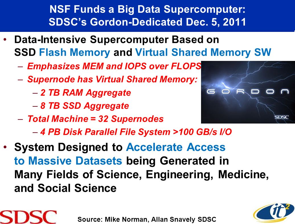 NSF Funds a Big Data Supercomputer: SDSCs Gordon-Dedicated Dec. 5, 2011 Data-Intensive Supercomputer Based on SSD Flash Memory and Virtual Shared Memo