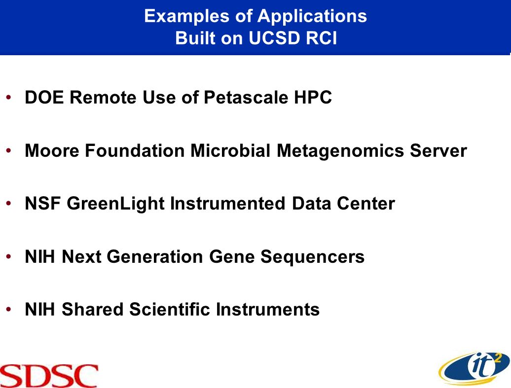 Examples of Applications Built on UCSD RCI DOE Remote Use of Petascale HPC Moore Foundation Microbial Metagenomics Server NSF GreenLight Instrumented Data Center NIH Next Generation Gene Sequencers NIH Shared Scientific Instruments