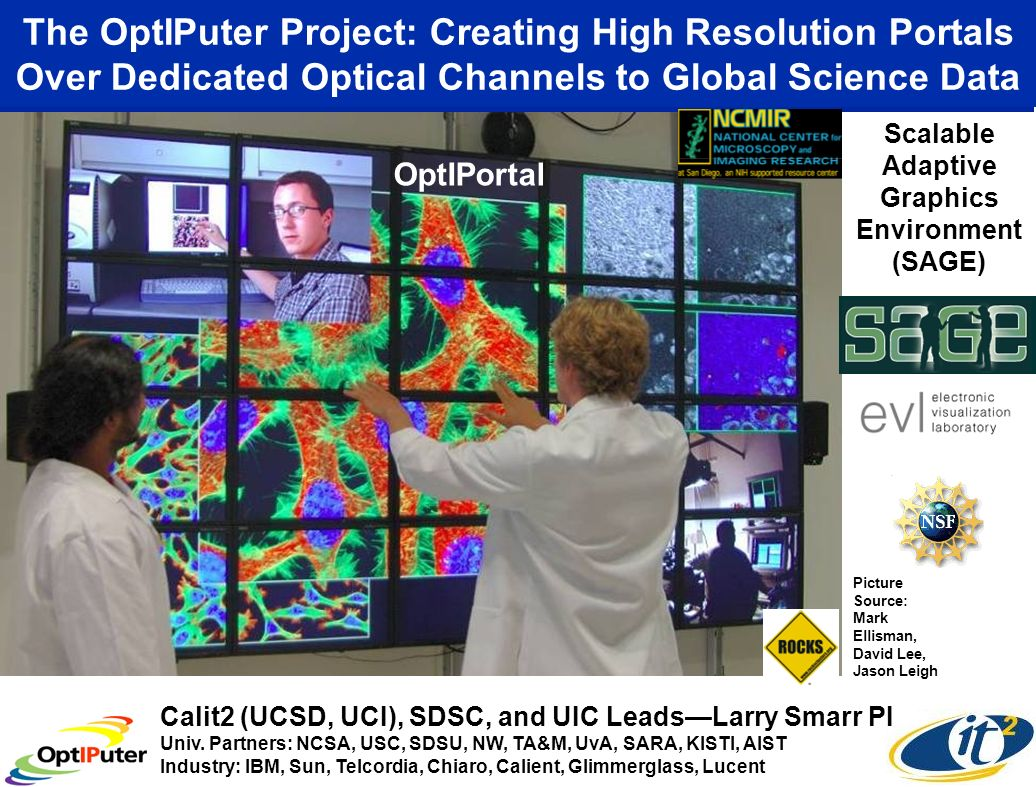 The OptIPuter Project: Creating High Resolution Portals Over Dedicated Optical Channels to Global Science Data Picture Source: Mark Ellisman, David Lee, Jason Leigh Calit2 (UCSD, UCI), SDSC, and UIC LeadsLarry Smarr PI Univ.
