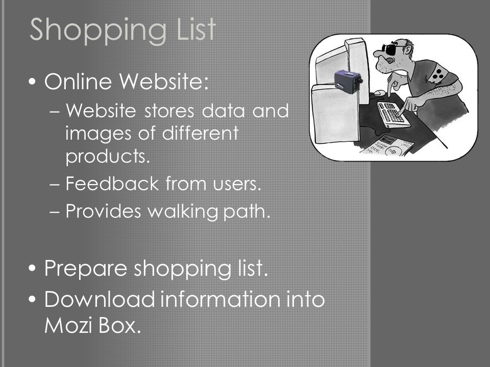 Shopping List Online Website: –Website stores data and images of different products.