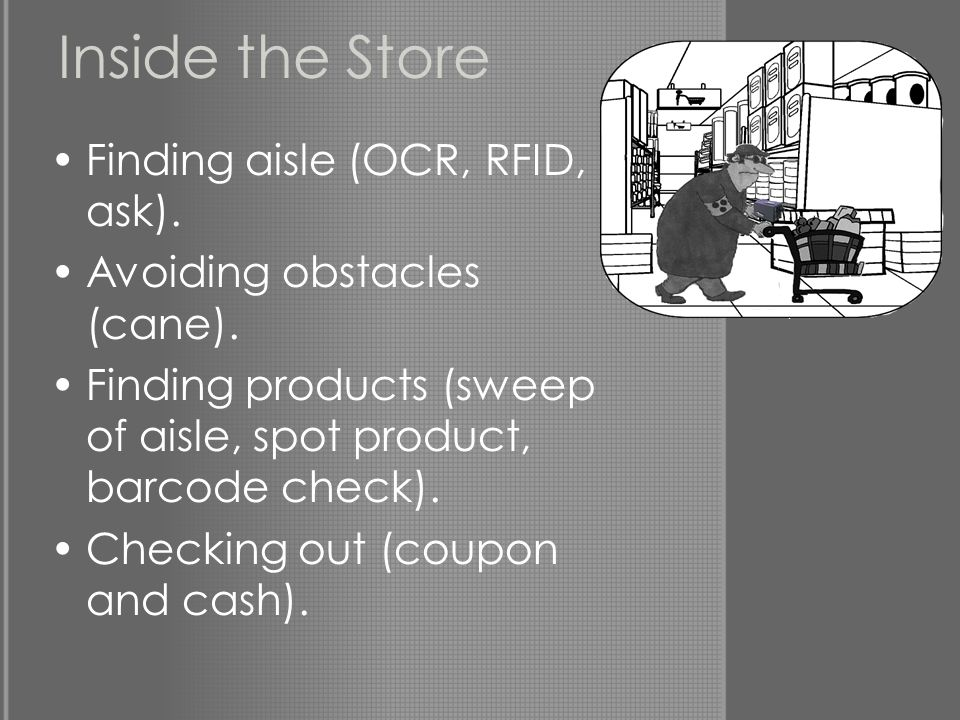 Inside the Store Finding aisle (OCR, RFID, ask). Avoiding obstacles (cane). Finding products (sweep of aisle, spot product, barcode check). Checking o