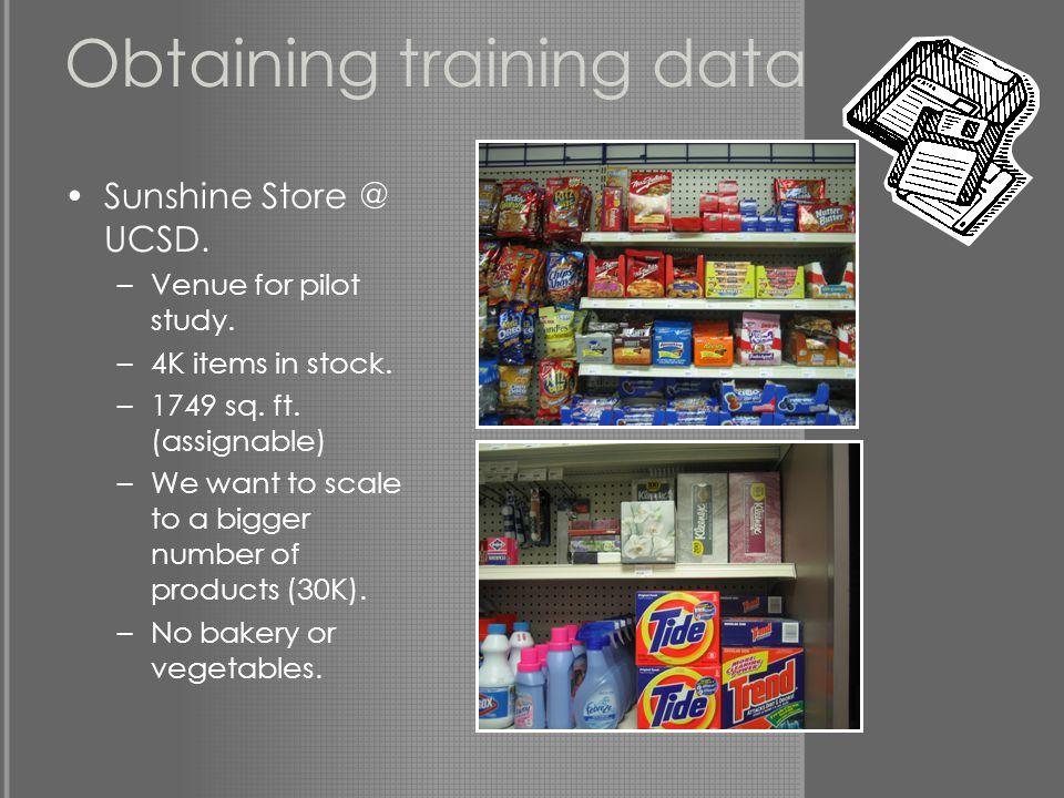 Obtaining training data Sunshine Store @ UCSD. –Venue for pilot study.