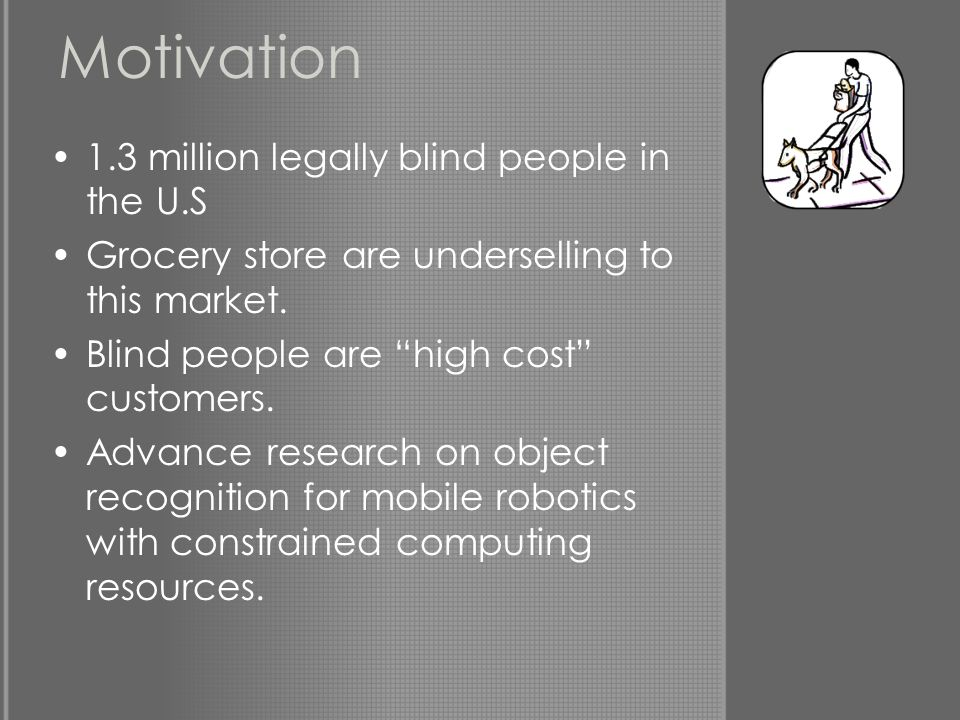 Motivation 1.3 million legally blind people in the U.S Grocery store are underselling to this market.