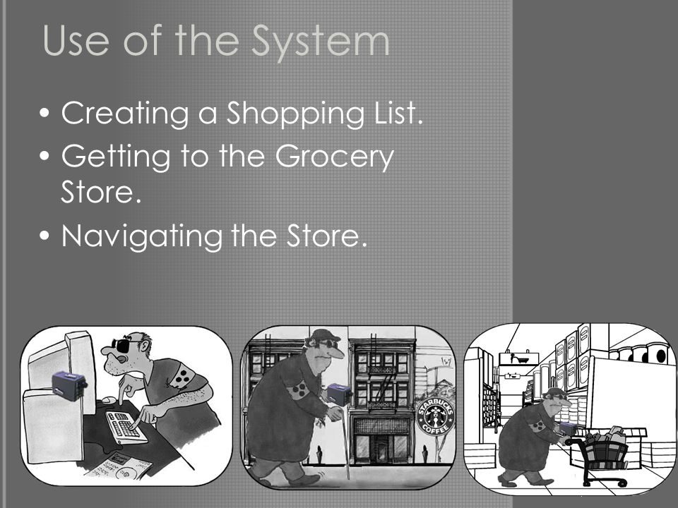 Use of the System Creating a Shopping List. Getting to the Grocery Store. Navigating the Store.