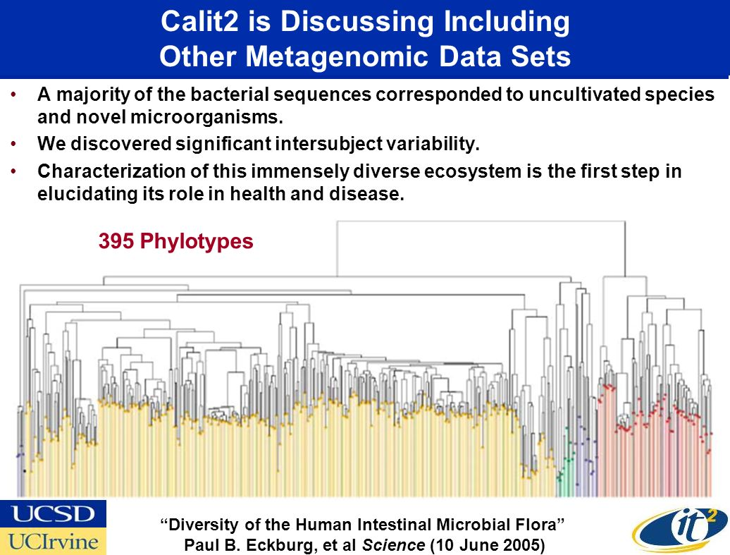Calit2 is Discussing Including Other Metagenomic Data Sets A majority of the bacterial sequences corresponded to uncultivated species and novel microorganisms.