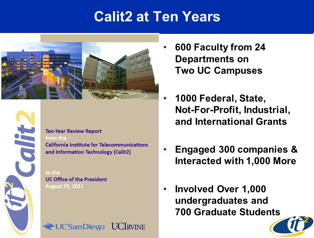 Calit2 at Ten Years 600 Faculty from 24 Departments on Two UC Campuses 1000 Federal, State, Not-For-Profit, Industrial, and International Grants Engag