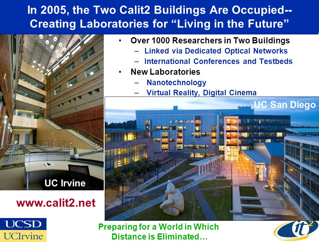 In 2005, the Two Calit2 Buildings Are Occupied-- Creating Laboratories for Living in the Future Over 1000 Researchers in Two Buildings –Linked via Ded
