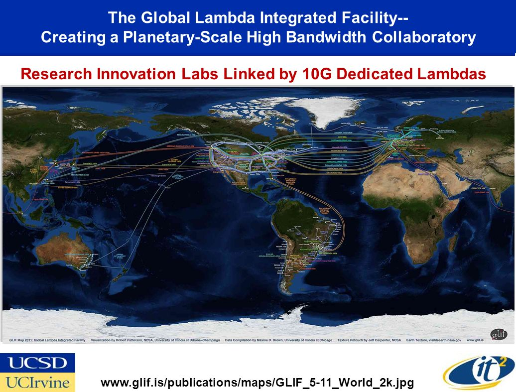 The Global Lambda Integrated Facility-- Creating a Planetary-Scale High Bandwidth Collaboratory Research Innovation Labs Linked by 10G Dedicated Lambdas www.glif.is/publications/maps/GLIF_5-11_World_2k.jpg