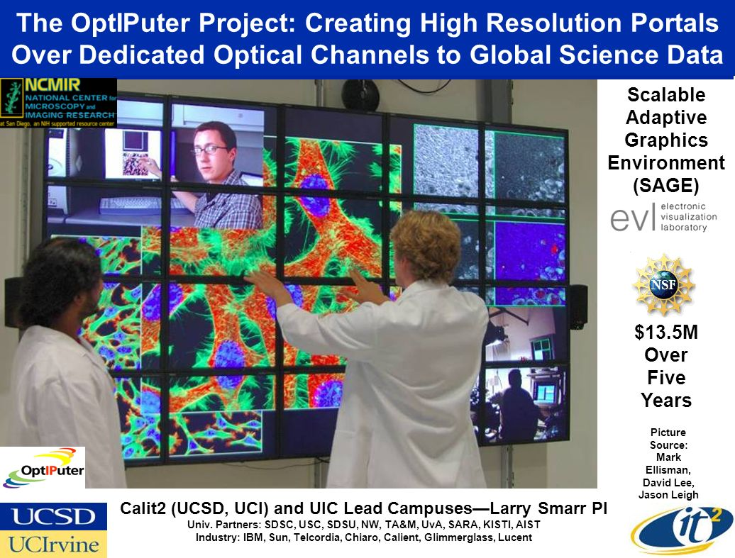 The OptIPuter Project: Creating High Resolution Portals Over Dedicated Optical Channels to Global Science Data Picture Source: Mark Ellisman, David Lee, Jason Leigh Calit2 (UCSD, UCI) and UIC Lead CampusesLarry Smarr PI Univ.