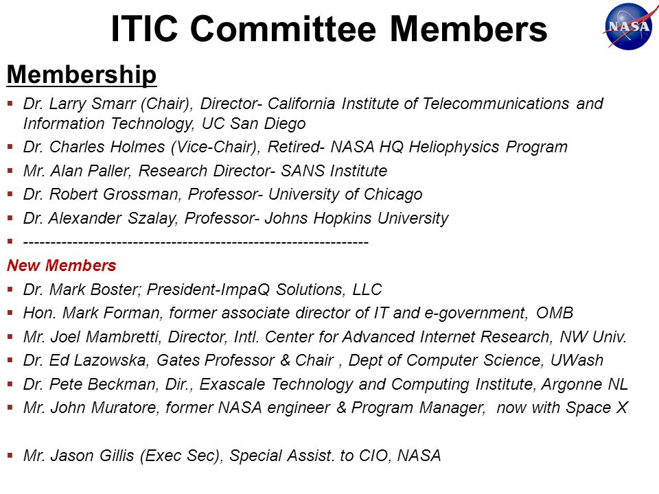 ITIC Committee Members Membership Dr.