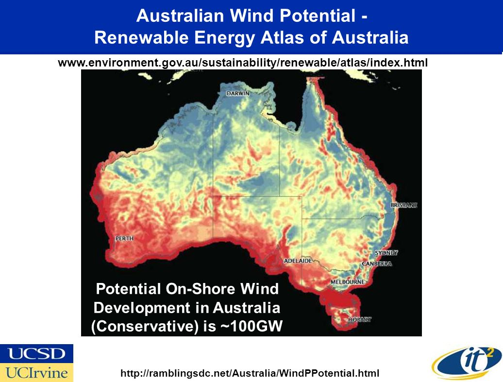 Australian Wind Potential - Renewable Energy Atlas of Australia http://ramblingsdc.net/Australia/WindPPotential.html www.environment.gov.au/sustainability/renewable/atlas/index.html Potential On-Shore Wind Development in Australia (Conservative) is ~100GW