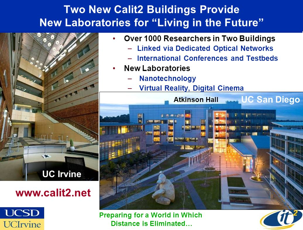 Calit2 and the Venter Institute Will Combine Telepresence with Remote Interactive Analysis OptIPuter Visualized Data HDTV Over Lambda Live Demonstration of 21st Century National-Scale Team Science 25 Miles Venter Institute Link India over Gigabit Links in 2007?