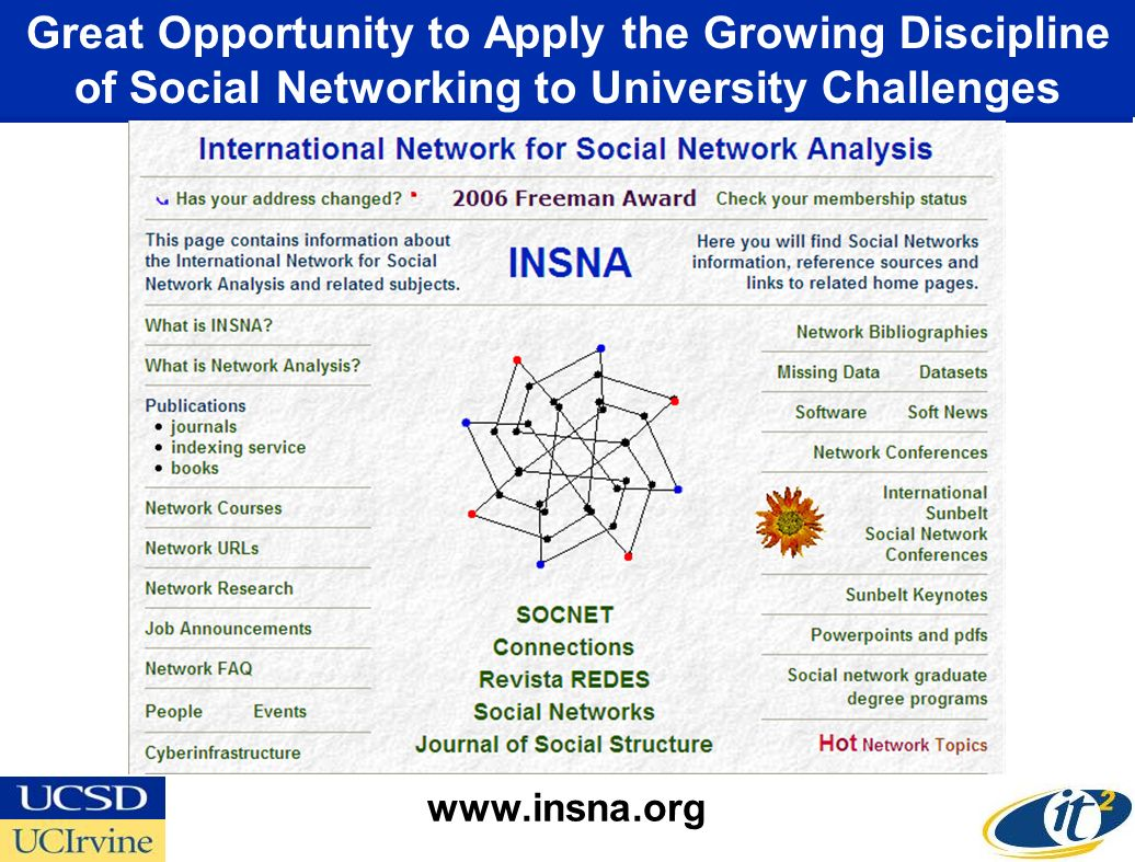 Great Opportunity to Apply the Growing Discipline of Social Networking to University Challenges www.insna.org