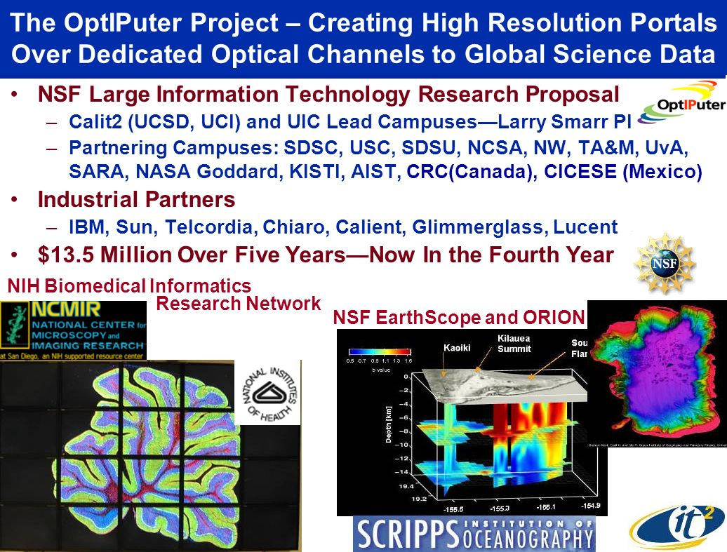The OptIPuter Project – Creating High Resolution Portals Over Dedicated Optical Channels to Global Science Data NSF Large Information Technology Research Proposal –Calit2 (UCSD, UCI) and UIC Lead CampusesLarry Smarr PI –Partnering Campuses: SDSC, USC, SDSU, NCSA, NW, TA&M, UvA, SARA, NASA Goddard, KISTI, AIST, CRC(Canada), CICESE (Mexico) Industrial Partners –IBM, Sun, Telcordia, Chiaro, Calient, Glimmerglass, Lucent $13.5 Million Over Five YearsNow In the Fourth Year NIH Biomedical Informatics NSF EarthScope and ORION Research Network