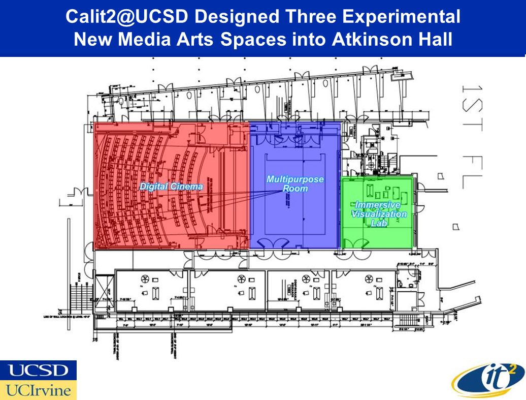 Calit2@UCSD Designed Three Experimental New Media Arts Spaces into Atkinson Hall New Media Arts Wing