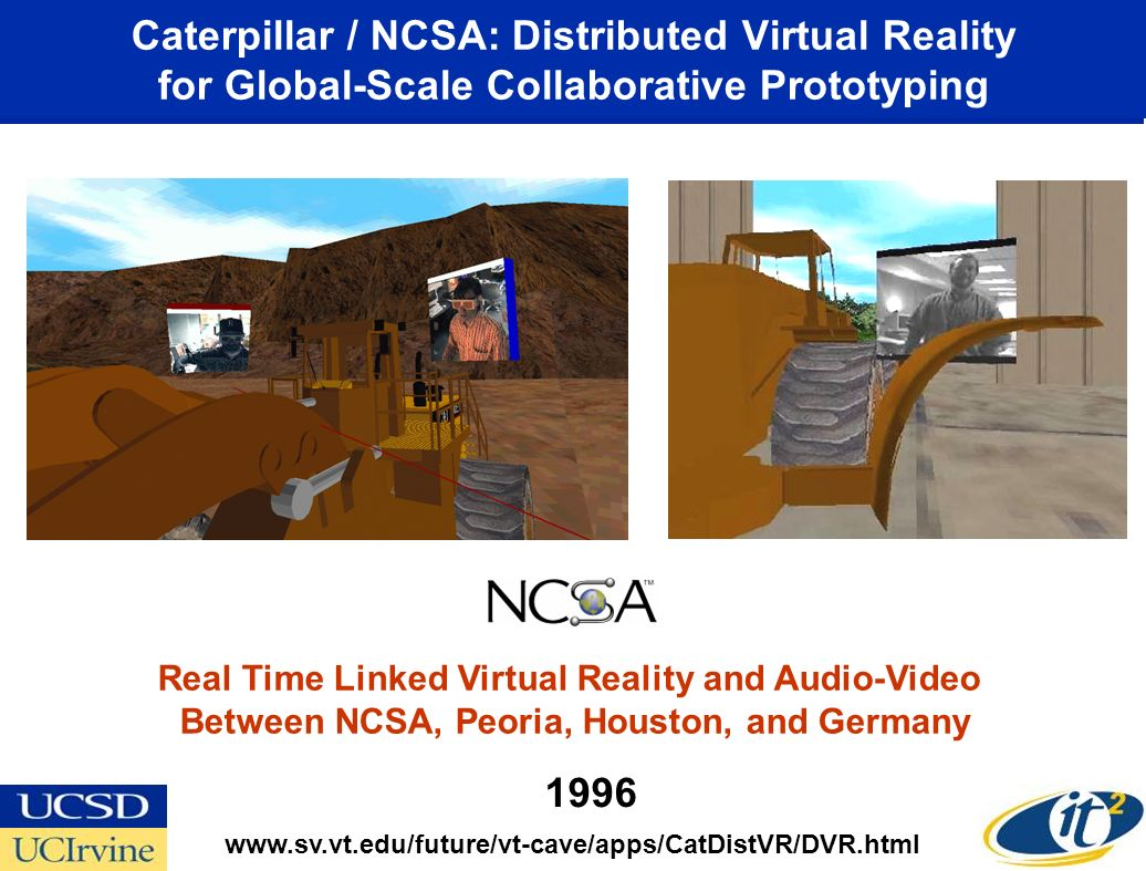 Alliance 1997: Collaborative Video Production via Tele-Immersion and Virtual Director Alliance Project Linking CAVE, ImmersaDesk, Power Wall, and Workstation UIC Donna Cox, Robert Patterson, Stuart Levy, NCSA Virtual Director Team Glenn Wheless, Old Dominion Univ.