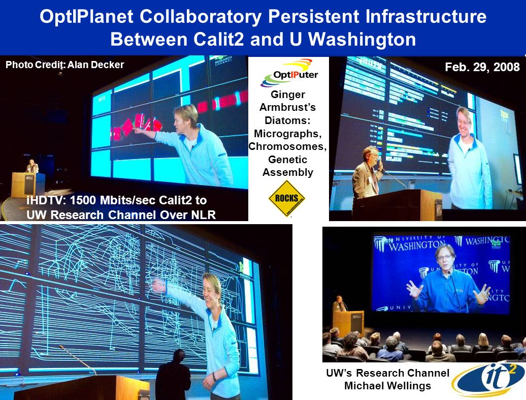 OptIPlanet Collaboratory Persistent Infrastructure Between Calit2 and U Washington Ginger Armbrusts Diatoms: Micrographs, Chromosomes, Genetic Assembl
